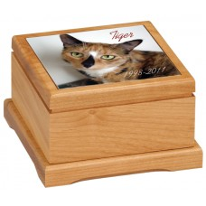 Small Red Alder Pet Urn With Ceramic Photo Tile