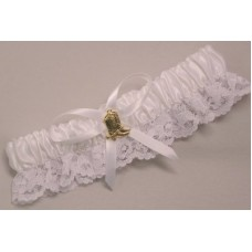 Gold Boot Garter, White
