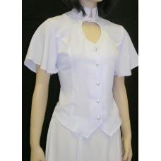 Heart Neck Short Sleeve Bridal Blouse, White