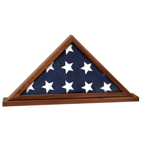 Genuine Walnut Flag Display Case for 5' x 9 1/2' flag with Base