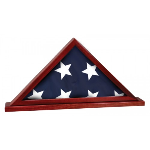 Rosewood Finish Flag Display Case for 3' x 5' flag with Base