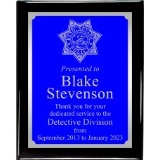 Black Piano Finish Blue/Silver Engraved Plaque