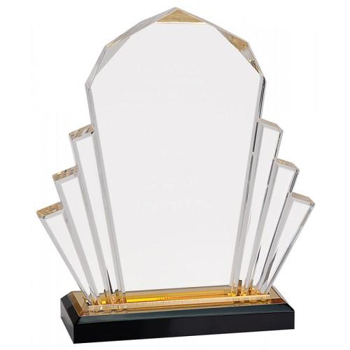 "Gold Faceted Impress Acrylic Award, 8"""