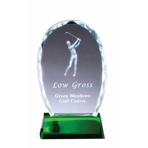 Green Crystal Oval with 3-D Golfer (3 Sizes)