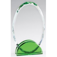 Emerald Green Double Arc Oval Glass Award, Small