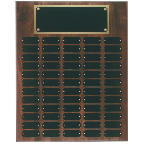 60 Plate Genuine Walnut Completed Perpetual Plaque