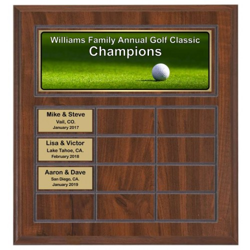 Routed Full-Color Perpetual Plaque, Brown