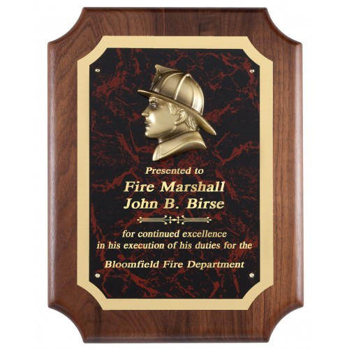 Red Marble Firefighter Plaque