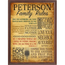 """Bible """"Family Rules"""" Wall Plaque"""