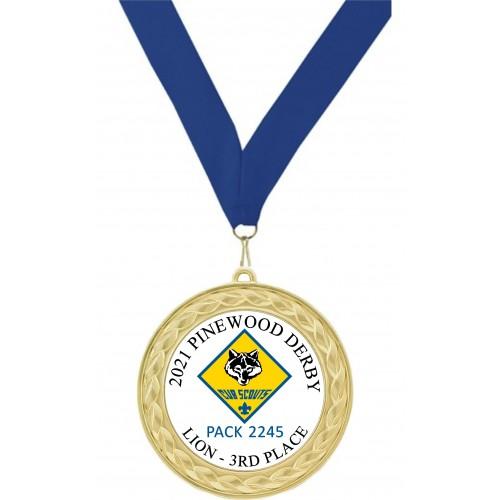Cub Scout Custom Insert Medal, Gold