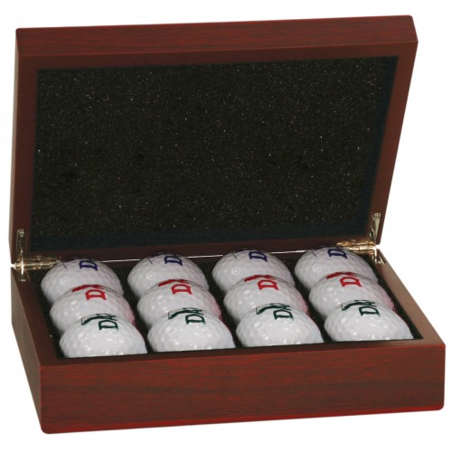Rosewood Finish Golf Ball Box