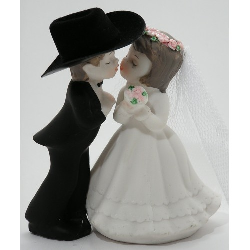 """4-1/8"""" Kissing Couple Cake Top"""