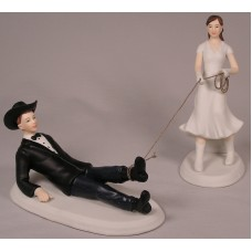 Bride Roping Groom Cake Top